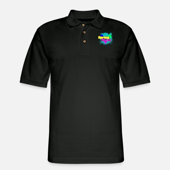 Spring Break Polo Shirts - SPRING BREAK - Men's Pique Polo Shirt black