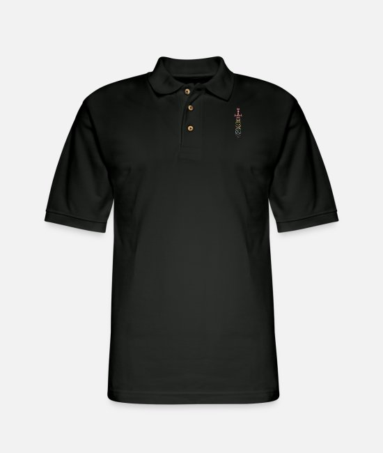 Board Game Polo Shirts - Pastel Polyhedral Dice Set Broad Sword - Men's Pique Polo Shirt black