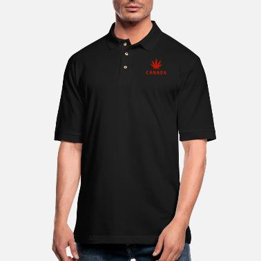 Logo Canada logo with cannabis - Men's Pique Polo Shirt