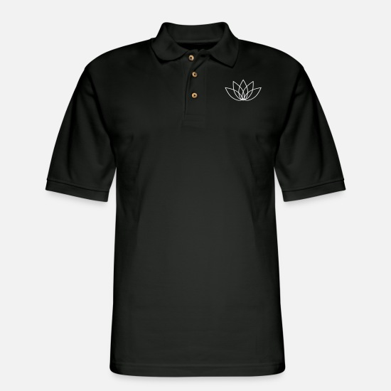 Lotus Blossom Polo Shirts - lotus - Men's Pique Polo Shirt black