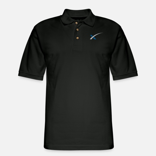 Heavy Polo Shirts - SpaceX merch - Men's Pique Polo Shirt black