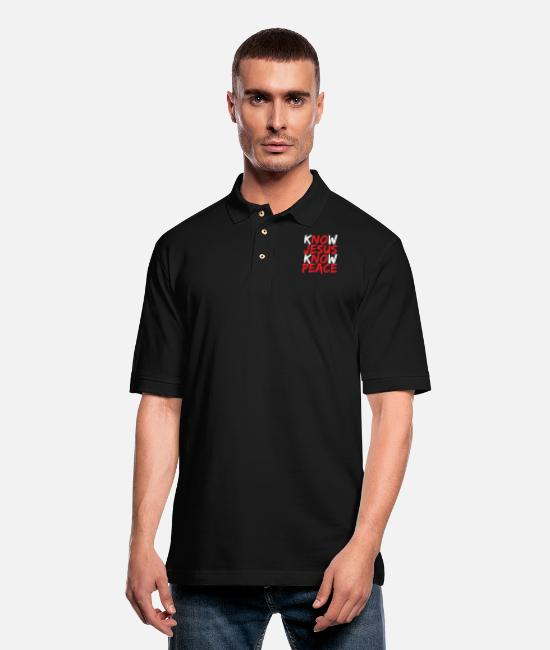 Bible Scripture Polo Shirts - Christian - christian jesus bible - Men's Pique Polo Shirt black