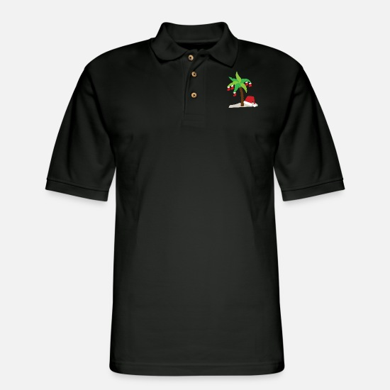 Christmas Polo Shirts - Trophical Christmas - Men's Pique Polo Shirt black
