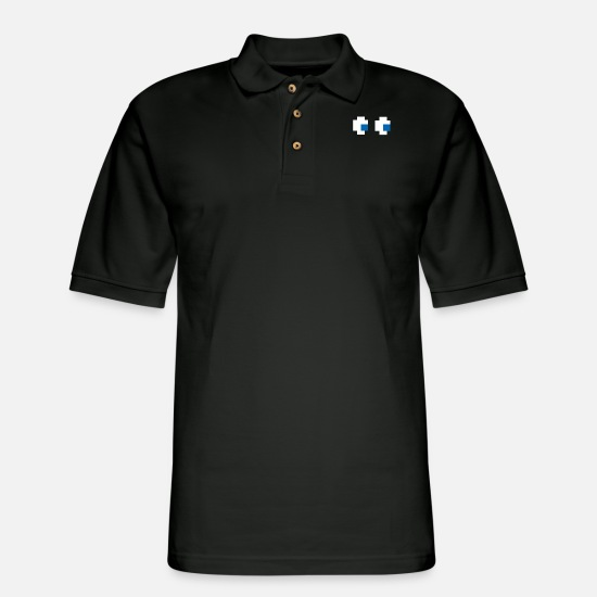 8 Bit Polo Shirts - 8 Bit Pixel Ghost - Men's Pique Polo Shirt black