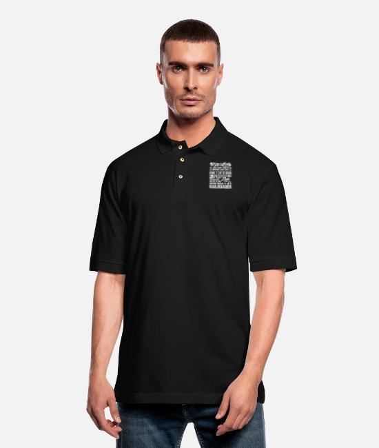 Railroad Polo Shirts - Never Make It As A Railroader Shirt - Men's Pique Polo Shirt black