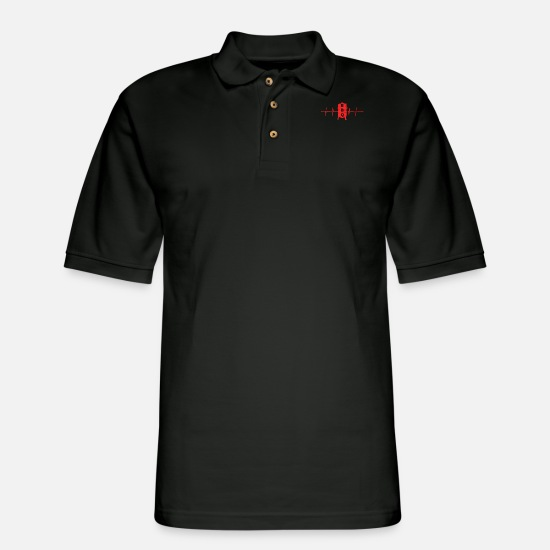 Barbecue Polo Shirts - BBQ HEARTBEAT BARBECUE BBQ SEASON BBQ KING GIFT - Men's Pique Polo Shirt black