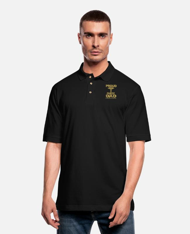 Dad Polo Shirts - pround nurse dad my daughter is my everything dad - Men's Pique Polo Shirt black