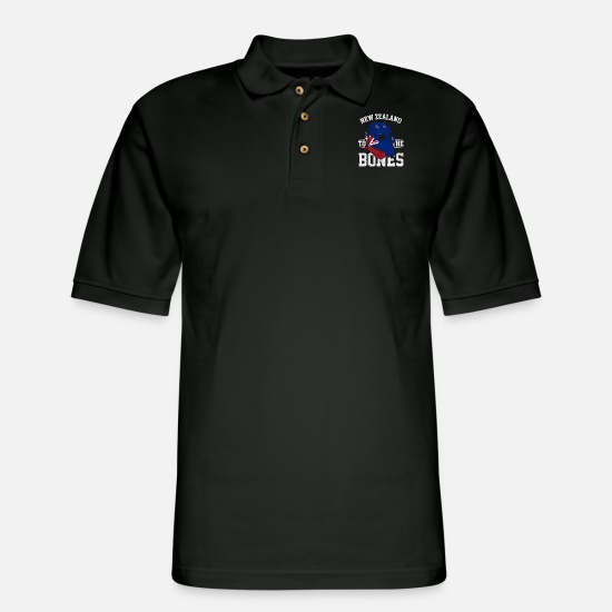 New Polo Shirts - New Zealand To The Bones - Men's Pique Polo Shirt black