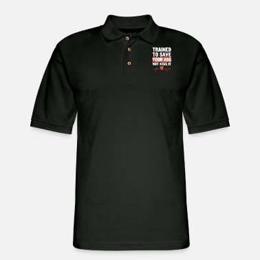 Punch trained to save your ass not kiss it gym - Men's Pique Polo Shirt