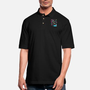Flamingo Popsicle Swimming Pool Party - Men's Pique Polo Shirt