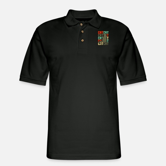 Owner Polo Shirts - Domestic cat Cats meow gift paws - Men's Pique Polo Shirt black