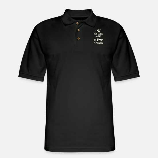 Best Chef T-shirts Polo Shirts - blessed are the cheese makers chef - Men's Pique Polo Shirt black