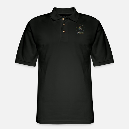 Christmas Polo Shirts - Snow Wordcloud of a lamp form (christmass) - Men's Pique Polo Shirt black