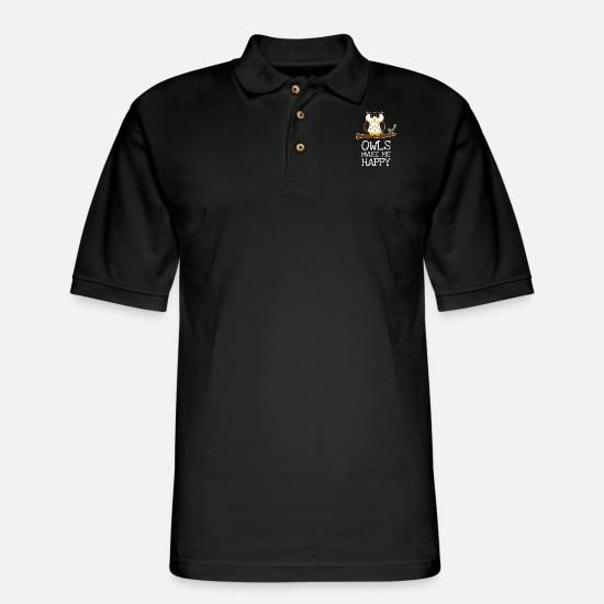 Night Owl Polo Shirts - Owls Make Me Happy Gift - Men's Pique Polo Shirt black
