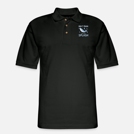 Plastic Polo Shirts - pollution pollution sea weighing plastic waste - Men's Pique Polo Shirt black