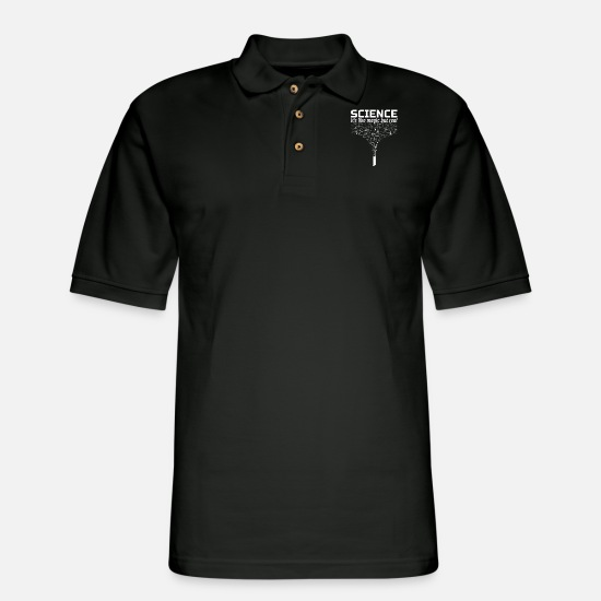 Funny Polo Shirts - Science Gift Like Magic But Real Student Teacher - Men's Pique Polo Shirt black