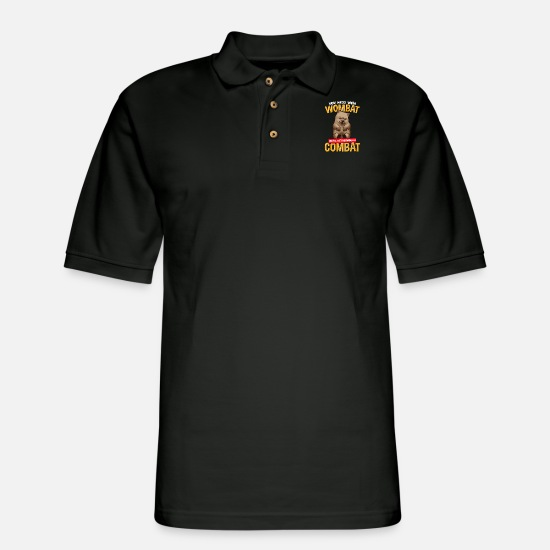 Precious Polo Shirts - You Mess With Wombat You'll Get Defeated In Combat - Men's Pique Polo Shirt black