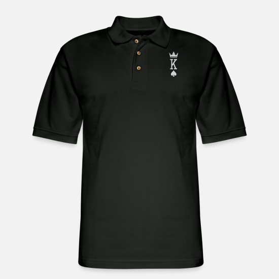Poker Polo Shirts - The king of spades novelty poker player gift - Men's Pique Polo Shirt black
