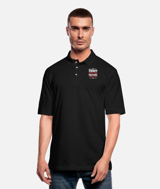 Mummy Polo Shirts - Future Ladies Man Currently Mamas Boy - Men's Pique Polo Shirt black