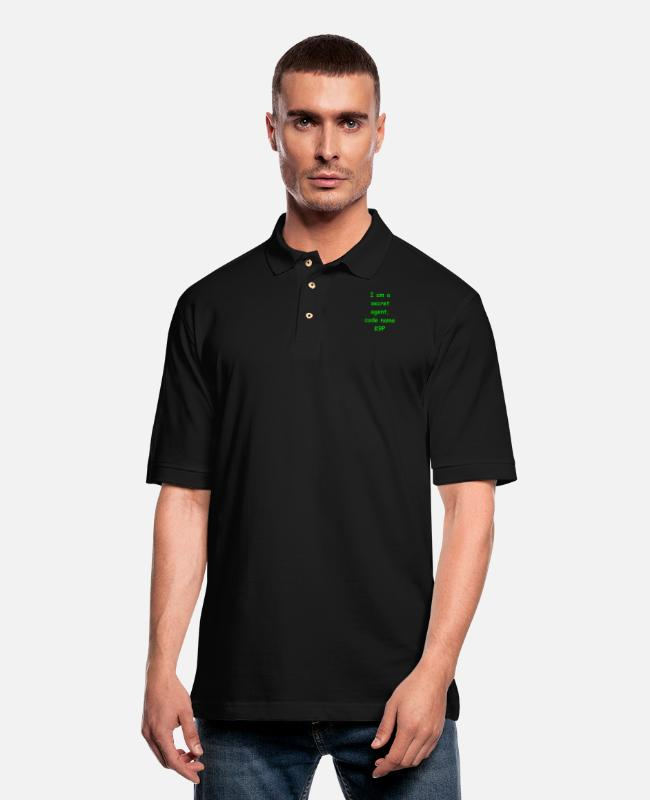 Laughter Therapy Polo Shirts - I am a secret agent, code name K9P - Men's Pique Polo Shirt black