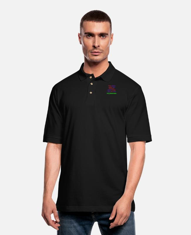 Polo Shirts - Homo sapiens sapiens and Americans elected Trump. - Men's Pique Polo Shirt black