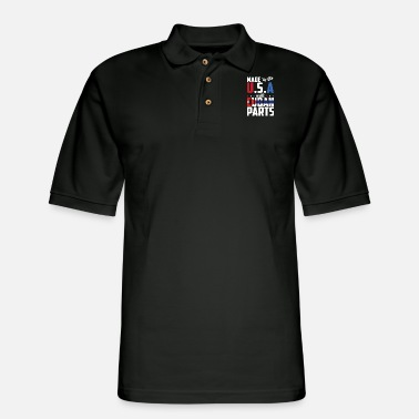 Parts - made in the u.s.a with cuban parts - Men's Pique Polo Shirt