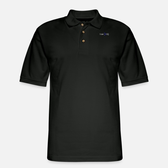 Iq Polo Shirts - I Can Is Greater Than IQ - Men's Pique Polo Shirt black