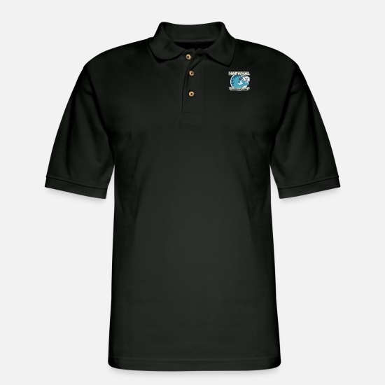 Narwhal Polo Shirts - Unicorn Of The Sea - Men's Pique Polo Shirt black