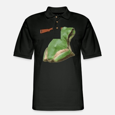 Strip frog 01 - Men's Pique Polo Shirt