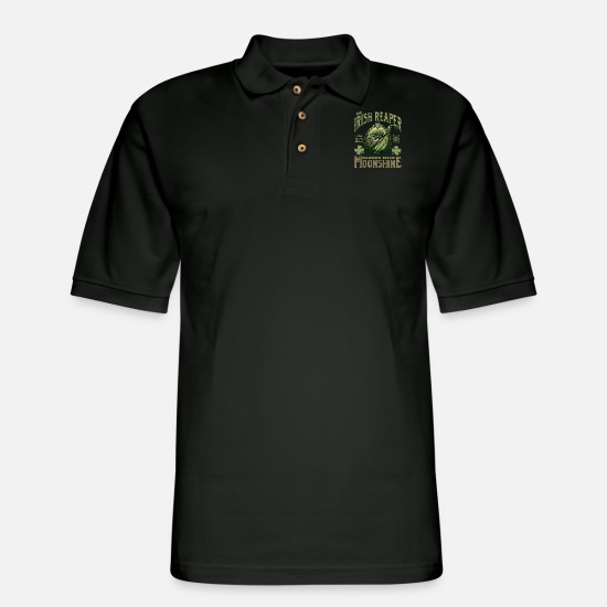 Irish Beer Polo Shirts - Irish Reaper Moonshine - Men's Pique Polo Shirt black