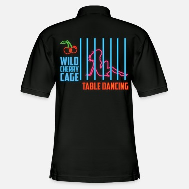 Gogo Wild Cherry Cage Table Dance Neon Sign - Men's Pique Polo Shirt