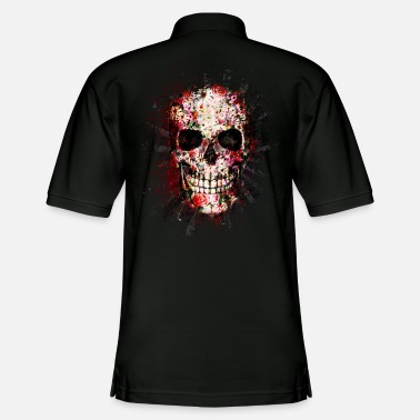 Splatter Gothic Skull Death Paint Splatter Art - Men's Pique Polo Shirt
