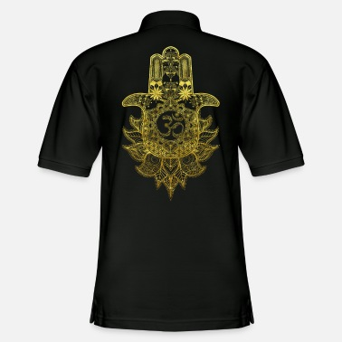 Spiritual Hamsa Hand Mandala with Om sign in gold design - Men's Pique Polo Shirt