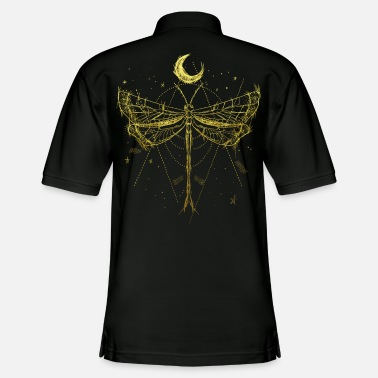 Goa drawing with dragonfly and moon in gold vintage - Men's Pique Polo Shirt