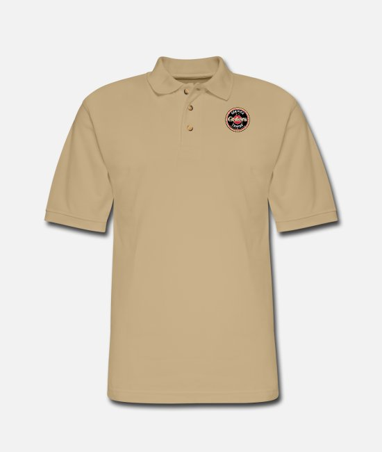 Guitar Polo Shirts - guitars center - Men's Pique Polo Shirt beige