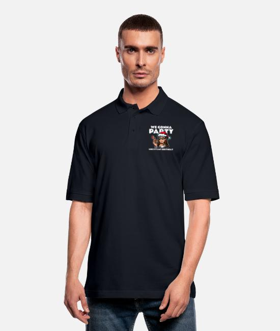 New Years Polo Shirts - We Gonna Party Like It's My Birthday Christmas - Men's Pique Polo Shirt midnight navy