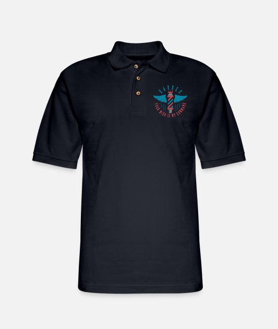Barber Polo Shirts - Royal Barber Your Wish Is My Command - Men's Pique Polo Shirt midnight navy