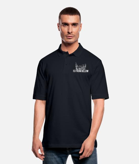 Scuba Diving Polo Shirts - The best view is from below - Men's Pique Polo Shirt midnight navy