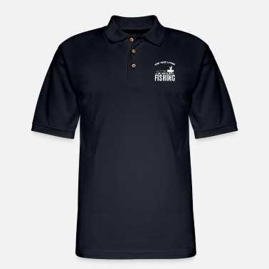Amazing I Was Thinking About Fishing Angling Fisher Funny - Men's Pique Polo Shirt