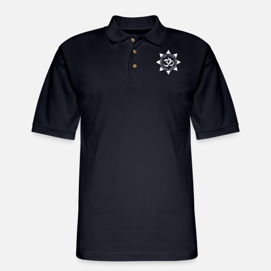 Tantra Polo Shirts - Yoga Namaste Inhale Exhale Repeat Gift - Men's Pique Polo Shirt midnight navy