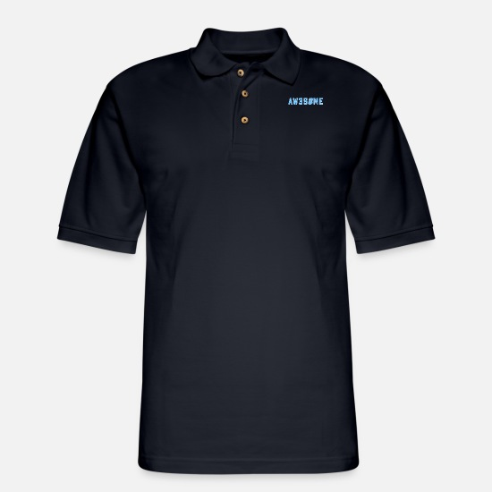 Iron Polo Shirts - AWESOME text as Leetspeak saying slogan - Men's Pique Polo Shirt midnight navy