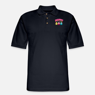 Birthday Happy Birthday Candles Cupcakes - Gift Idea - Men's Pique Polo Shirt