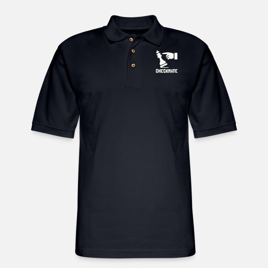 Kids Polo Shirts - Checkmate | Chess Champion - Men's Pique Polo Shirt midnight navy