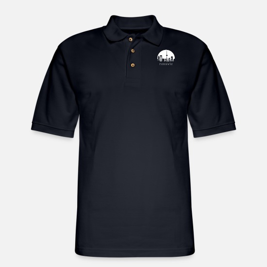 Toronto Polo Shirts - Toronto, skyline - Men's Pique Polo Shirt midnight navy