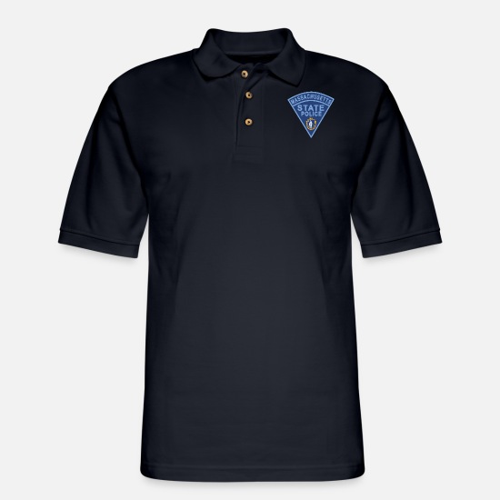 Police Polo Shirts - Massachusetts State Police Patch - Men's Pique Polo Shirt midnight navy