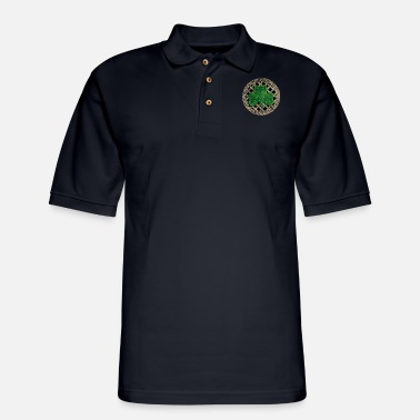 Shamrock Black Celtic Knots And Shamrock - Men's Pique Polo Shirt