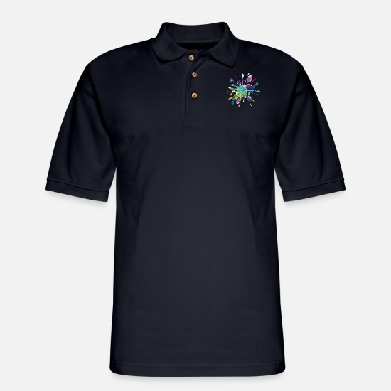 Splash Polo Shirts - Color paint splashes background - Men's Pique Polo Shirt midnight navy