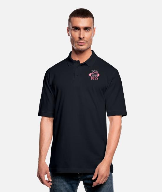 Lifting Like Polo Shirts - Act like a lady lift like a boss - Men's Pique Polo Shirt midnight navy