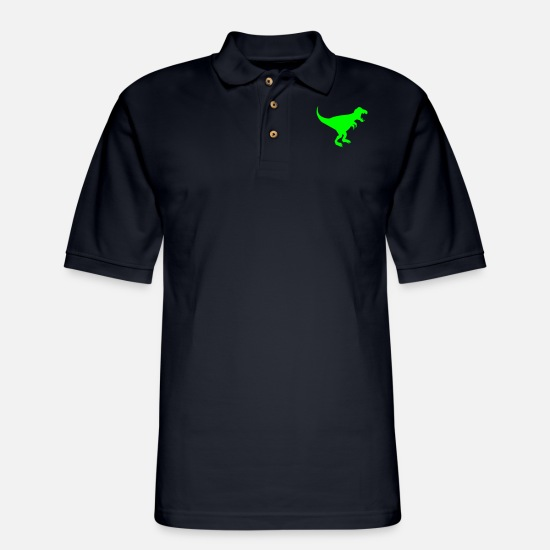 Dinosaurs Polo Shirts - Dinosaur - Men's Pique Polo Shirt midnight navy