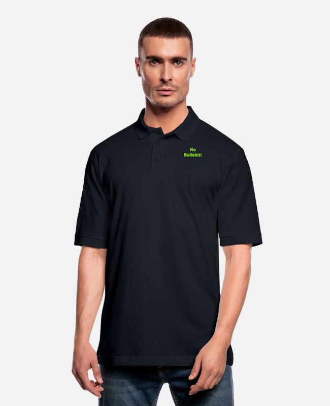 Bullshit Polo Shirts - No Bullshit - Men's Pique Polo Shirt midnight navy